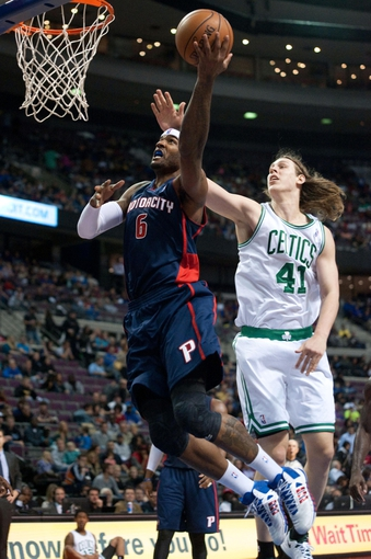 Nov 3, 2013; Auburn Hills, MI, USA; Detroit Pistons small forward Josh Smith (6) drives to the basket against Boston Celtics power forward Kelly Olynyk (41) during the third quarter at The Palace of Auburn Hills. Detroit won 87-77. Mandatory Credit: Tim Fuller-USA TODAY Sports