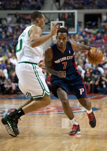Nov 3, 2013; Auburn Hills, MI, USA; Boston Celtics point guard Avery Bradley (0) guards Detroit Pistons point guard Brandon Jennings (7) during the fourth quarter at The Palace of Auburn Hills. Detroit won 87-77. Mandatory Credit: Tim Fuller-USA TODAY Sports