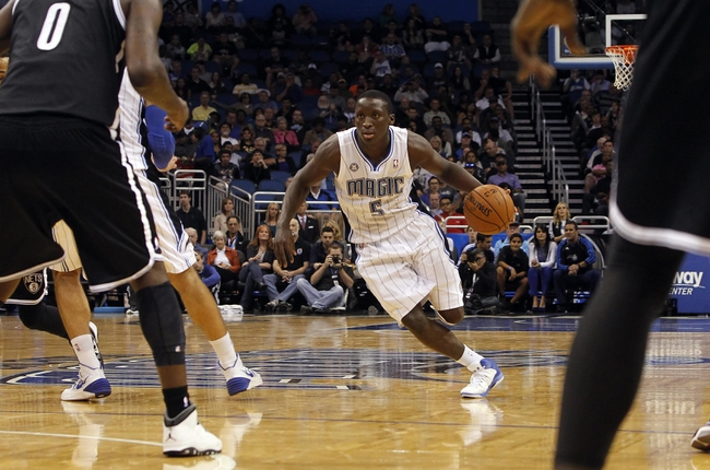 Nov 3, 2013; Orlando, FL, USA; Orlando Magic shooting guard Victor Oladipo (5) drives to the basket against the Brooklyn Nets during the second half at Amway Center. Orlando Magic defeated the Brooklyn Nets 107-86. Mandatory Credit: Kim Klement-USA TODAY Sports