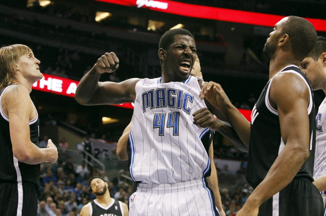 Nov 3, 2013; Orlando, FL, USA; Orlando Magic power forward Andrew Nicholson (44) reacts after he made the basket and was fouled during the second half against the Brooklyn Nets at Amway Center. Orlando Magic defeated the Brooklyn Nets 107-86. Mandatory Credit: Kim Klement-USA TODAY Sports