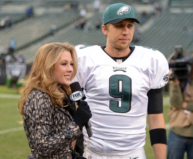 Nov 3, 2013; Oakland, CA, USA; Fox Sports sideline reporter Jennifer Hale (left) interviews Philadelphia Eagles quarterback Nick Foles (9) after the game against the Oakland Raiders at O.co Coliseum. The Eagles defeated the Raiders 49-20. Mandatory Credit: Kirby Lee-USA TODAY Sports