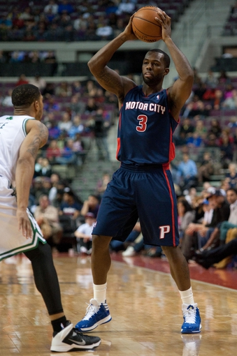 Nov 3, 2013; Auburn Hills, MI, USA; Detroit Pistons shooting guard Rodney Stuckey (3) during the game against the Boston Celtics at The Palace of Auburn Hills. Detroit won 87-77. Mandatory Credit: Tim Fuller-USA TODAY Sports
