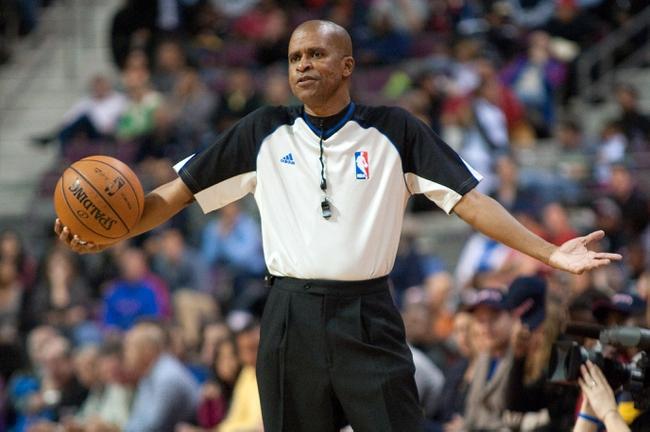 Nov 3, 2013; Auburn Hills, MI, USA; NBA referee Sean Corbin (33) during the game between the Detroit Pistons and the Boston Celtics at The Palace of Auburn Hills. Detroit won 87-77. Mandatory Credit: Tim Fuller-USA TODAY Sports