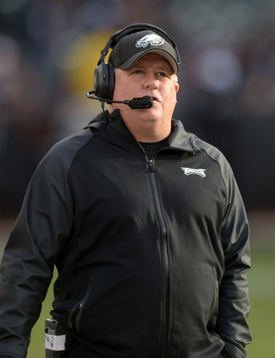 Nov 3, 2013; Oakland, CA, USA; Philadelphia Eagles coach Chip Kelly reacts during the game against the Oakland Raiders at O.co Coliseum. The Eagles defeated the Raiders 49-20. Mandatory Credit: Kirby Lee-USA TODAY Sports