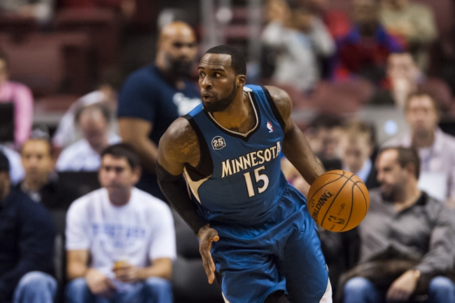 Oct 23, 2013; Philadelphia, PA, USA; Minnesota Timberwolves forward Shabazz Muhammad (15) brings the ball up court during the fourth quarter against the Philadelphia 76ers at Wells Fargo Center. The Timberwolves defeated the Sixers 125-102. Mandatory Credit: Howard Smith-USA TODAY Sports