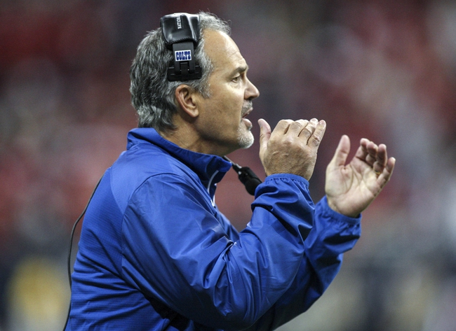 Nov 3, 2013; Houston, TX, USA; Indianapolis Colts head coach Chuck Pagano shouts from the sideline during the fourth quarter against the Houston Texans at Reliant Stadium. The Colts defeated the Texans 27-24. Mandatory Credit: Troy Taormina-USA TODAY Sports