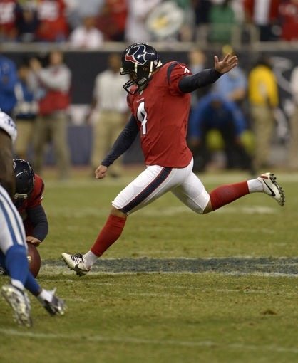 Nov 3, 2013; Houston, TX, USA; Houston Texans kicker Randy Bullock (4) misses a field goal that could have tied the game as time expires against the Indianapolis Colts during the second half at Reliant Stadium. The Colts won 27-24. Mandatory Credit: Thomas Campbell-USA TODAY Sports