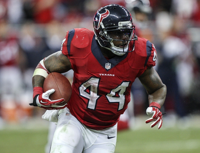 Nov 3, 2013; Houston, TX, USA; Houston Texans running back Ben Tate (44) rushes during the fourth quarter against the Indianapolis Colts at Reliant Stadium. The Colts defeated the Texans 27-24. Mandatory Credit: Troy Taormina-USA TODAY Sports
