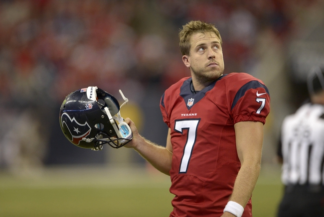 Nov 3, 2013; Houston, TX, USA; Houston Texans quarterback Case Keenum (7) walks off the field against the Indianapolis Colts during the second half at Reliant Stadium. The Colts won 27-24. Mandatory Credit: Thomas Campbell-USA TODAY Sports