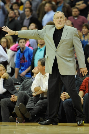 Nov 4, 2013; Cleveland, OH, USA; Minnesota Timberwolves head coach Rick Adelman reacts in the fourth quarter against the Cleveland Cavaliers at Quicken Loans Arena. Mandatory Credit: David Richard-USA TODAY Sports