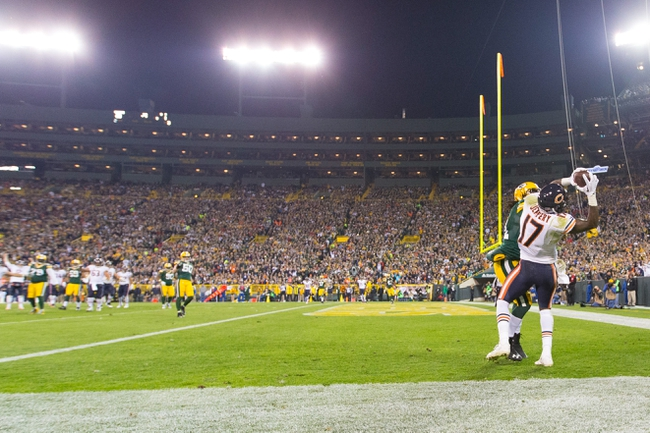 Nov 4, 2013; Green Bay, WI, USA; Chicago Bears wide receiver Alshon Jeffery (17) catches a touchdown pass during the third quarter against the Green Bay Packers at Lambeau Field. Chicago won 27-20.  Mandatory Credit: Jeff Hanisch-USA TODAY Sports
