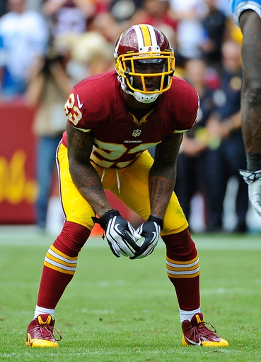 Sep 22, 2013; Landover, MD, USA; Washington Redskins cornerback DeAngelo Hall (23) lines up against the Detroit Lions during the first half at FedEX Field. Mandatory Credit: Brad Mills-USA TODAY Sports