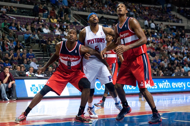 Oct 30, 2013; Auburn Hills, MI, USA; Washington Wizards small forward Martell Webster (9) and small forward Trevor Ariza (1) box out Detroit Pistons small forward Josh Smith (6) during the fourth quarter at The Palace of Auburn Hills. Pistons won 113-102. Mandatory Credit: Tim Fuller-USA TODAY Sports