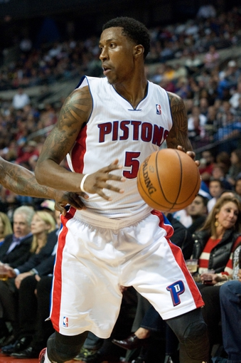 Oct 30, 2013; Auburn Hills, MI, USA; Detroit Pistons shooting guard Kentavious Caldwell-Pope (5) during the third quarter against the Washington Wizards at The Palace of Auburn Hills. Pistons won 113-102. Mandatory Credit: Tim Fuller-USA TODAY Sports
