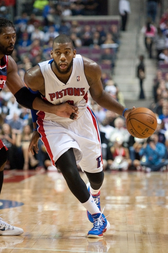 Oct 30, 2013; Auburn Hills, MI, USA; Detroit Pistons center Greg Monroe (10) drives to the basket against the Washington Wizards during the fourth quarter at The Palace of Auburn Hills. Pistons won 113-102. Mandatory Credit: Tim Fuller-USA TODAY Sports