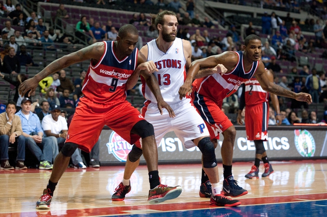 Oct 30, 2013; Auburn Hills, MI, USA; Washington Wizards small forward Martell Webster (9) and small forward Trevor Ariza (1) box out Detroit Pistons small forward Luigi Datome (13) during the fourth quarter at The Palace of Auburn Hills. Pistons won 113-102. Mandatory Credit: Tim Fuller-USA TODAY Sports
