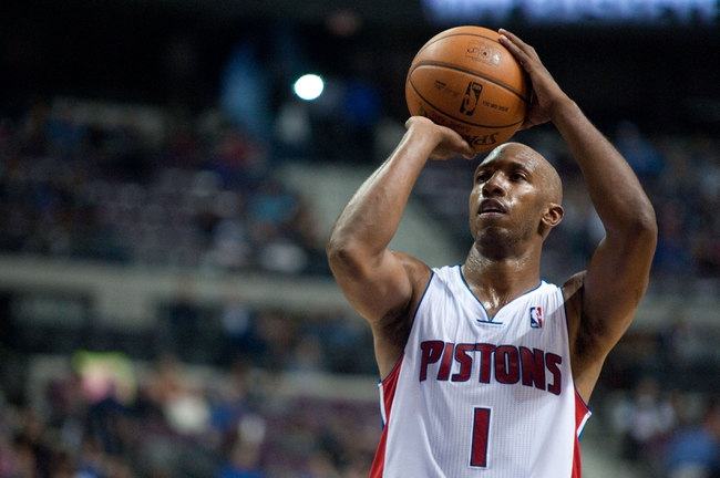 Oct 30, 2013; Auburn Hills, MI, USA; Detroit Pistons point guard Chauncey Billups (1) shoots a free throw during the fourth quarter against the Washington Wizards at The Palace of Auburn Hills. Pistons won 113-102. Mandatory Credit: Tim Fuller-USA TODAY Sports