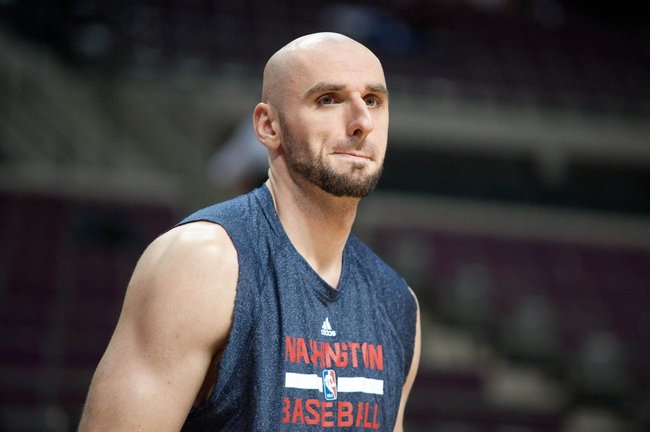 Oct 30, 2013; Auburn Hills, MI, USA; Washington Wizards center Marcin Gortat (4) before the game against the Detroit Pistons at The Palace of Auburn Hills. Mandatory Credit: Tim Fuller-USA TODAY Sports