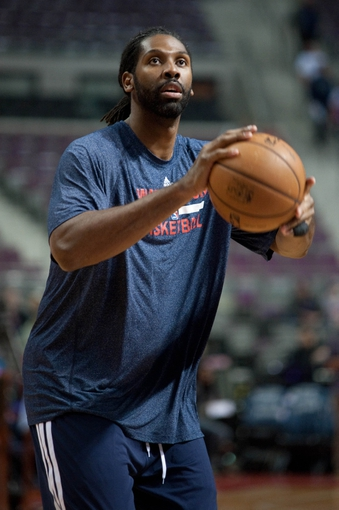 Oct 30, 2013; Auburn Hills, MI, USA; Washington Wizards center Nene (42) warms up before the game against the Detroit Pistons at The Palace of Auburn Hills. Mandatory Credit: Tim Fuller-USA TODAY Sports