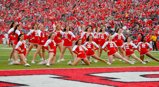 Nov 2, 2013; Piscataway, NJ, USA;  Rutgers Scarlet Knights dance team perform during the second half of game against the Temple Owls at High Points Solutions Stadium. Rutgers Scarlet Knights defeat the Temple Owls 23-20. Mandatory Credit: Jim O'Connor-USA TODAY Sports