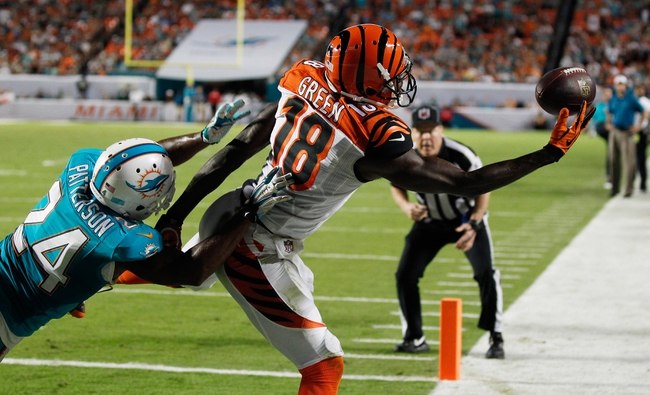 Oct 31, 2013; Miami Gardens, FL, USA; Cincinnati Bengals wide receiver A.J. Green (18) can't make the catch as Miami Dolphins cornerback Dimitri Patterson (24) defends in the second half at Sun Life Stadium.  Miami won 22-20. Mandatory Credit: Robert Mayer-USA TODAY Sports