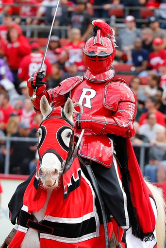 Nov 2, 2013; Piscataway, NJ, USA;  Rutgers Scarlet Knight mascot during the second half against the Temple Owls at High Points Solutions Stadium. Rutgers Scarlet Knights defeat the Temple Owls 23-20. Mandatory Credit: Jim O'Connor-USA TODAY Sports