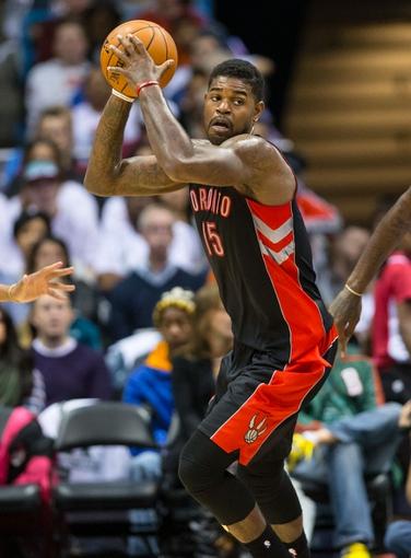 Nov 2, 2013; Milwaukee, WI, USA; Toronto Raptors forward Amir Johnson (15) during the game against the Milwaukee Bucks at BMO Harris Bradley Center. Toronto won 97-90.  Mandatory Credit: Jeff Hanisch-USA TODAY Sports