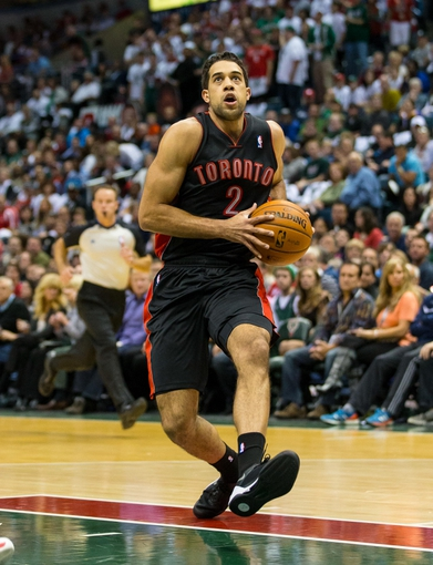 Nov 2, 2013; Milwaukee, WI, USA; Toronto Raptors forward Landry Fields (2) during the game against the Milwaukee Bucks at BMO Harris Bradley Center. Toronto won 97-90.  Mandatory Credit: Jeff Hanisch-USA TODAY Sports