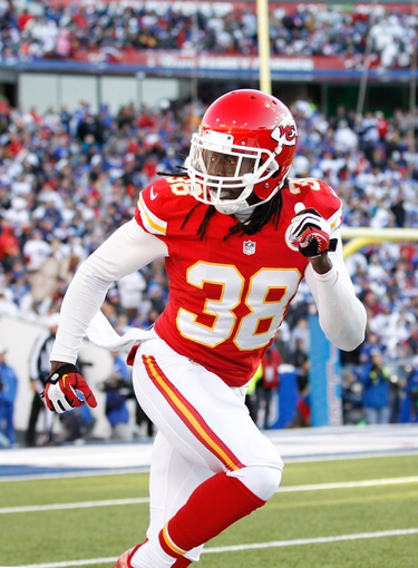 Nov 3, 2013; Orchard Park, NY, USA; Kansas City Chiefs defensive back Ron Parker (38) during the second half against the Buffalo Bills at Ralph Wilson Stadium. Chiefs beat the Bills 23-13. Mandatory Credit: Kevin Hoffman-USA TODAY Sports