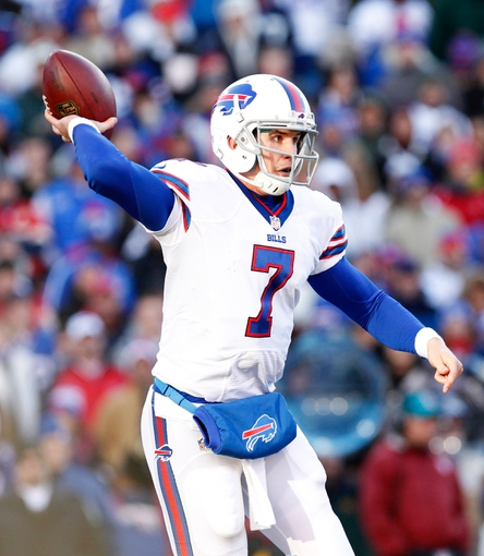 Nov 3, 2013; Orchard Park, NY, USA; Buffalo Bills quarterback Jeff Tuel (7) during the second half against the Kansas City Chiefs at Ralph Wilson Stadium. Chiefs beat the Bills 23-13. Mandatory Credit: Kevin Hoffman-USA TODAY Sports