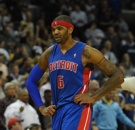Nov 1, 2013; Memphis, TN, USA; Detroit Pistons small forward Josh Smith (6) reacts after a play during the game against Memphis Grizzlies at FedExForum. Memphis Grizzlies beat the Detroit Pistons 111 - 108. Mandatory Credit: Justin Ford-USA TODAY Sports