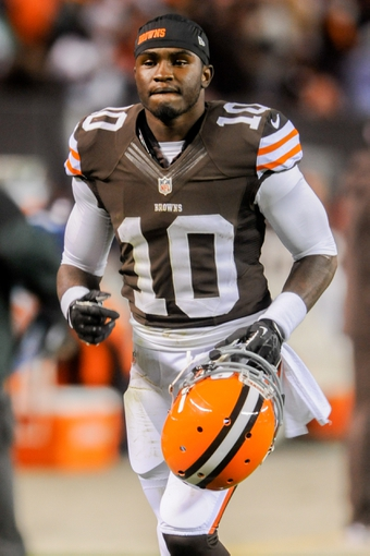 Nov 3, 2013; Cleveland, OH, USA; Cleveland Browns wide receiver Armanti Edwards (10) after the game against the Baltimore Ravens at FirstEnergy Stadium. Mandatory Credit: Ken Blaze-USA TODAY Sports