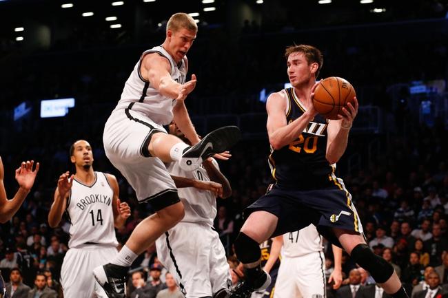 Nov 5, 2013; Brooklyn, NY, USA;  Brooklyn Nets power forward Mason Plumlee (1) defends against Utah Jazz small forward Gordon Hayward (20) during the third quarter at Barclays Center. Nets won 104-88.  Mandatory Credit: Anthony Gruppuso-USA TODAY Sports