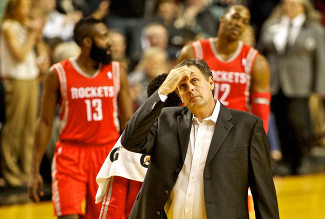 Nov 5, 2013; Portland, OR, USA; Houston Rockets head coach Kevin McHale looks at the scoreboard in the first quarter against the Portland Trail Blazers at the Moda Center. Mandatory Credit: Craig Mitchelldyer-USA TODAY Sports