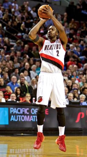Nov 5, 2013; Portland, OR, USA; Portland Trail Blazers shooting guard Wesley Matthews (2) shoots a three point basket against the Houston Rockets at the Moda Center. Mandatory Credit: Craig Mitchelldyer-USA TODAY Sports