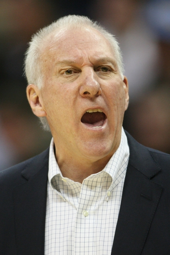 Nov 5, 2013; Denver, CO, USA; San Antonio Spurs coach Gregg Popovich reacts during the first half against the Denver Nuggets at Pepsi Center. The Spurs won 102-94. Mandatory Credit: Chris Humphreys-USA TODAY Sports