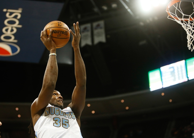 Nov 5, 2013; Denver, CO, USA; Denver Nuggets forward Kenneth Faried (35) shoots the ball during the first half against the San Antonio Spurs at Pepsi Center. Mandatory Credit: Chris Humphreys-USA TODAY Sports