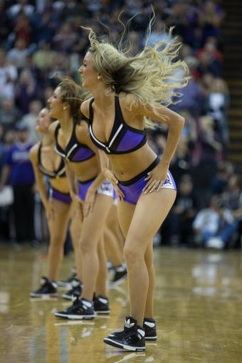Nov 5, 2013; Sacramento, CA, USA; Sacramento Kings dancers perform during a timeout against the Atlanta Hawks during the fourth quarter at Sleep Train Arena. The Atlanta Hawks defeated the Sacramento Kings 105-100. Mandatory Credit: Kelley L Cox-USA TODAY Sports