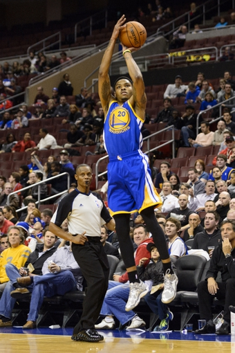 Nov 4, 2013; Philadelphia, PA, USA; Golden State Warriors guard Kent Bazemore (20) during the fourth quarter against the Philadelphia 76ers at Wells Fargo Center. The Warriors defeated the Sixers 110-90. Mandatory Credit: Howard Smith-USA TODAY Sports