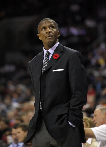 Nov 6, 2013; Charlotte, NC, USA; Toronto Raptors head coach Dwane Casey during the game against the Charlotte Bobcats at Time Warner Cable Arena. Mandatory Credit: Sam Sharpe-USA TODAY Sports