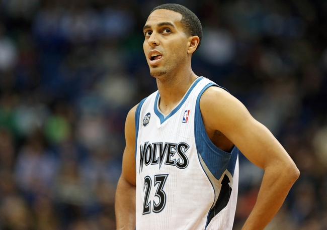 Nov 6, 2013; Minneapolis, MN, USA; Minnesota Timberwolves shooting guard Kevin Martin (23) looks on during the first half against the Golden State Warriors at Target Center. Mandatory Credit: Jesse Johnson-USA TODAY Sports