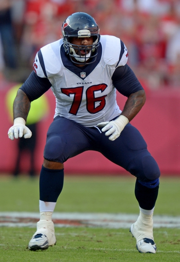 Oct 20, 2013; Kansas City, MO, USA; Houston Texans tackle Duane Brown (76) defends during the game against the Kansas City Chiefs at Arrowhead Stadium. The Chiefs defeated the Texans 17-16. Mandatory Credit: Kirby Lee-USA TODAY Sports