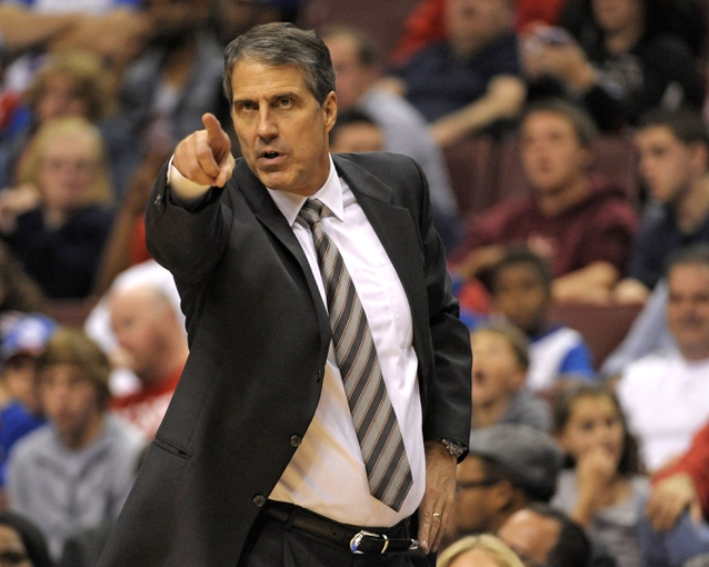 Nov 6, 2013; Philadelphia, PA, USA; Washington Wizards head coach Randy Wittman against the Philadelphia 76ers during the second half at Wells Fargo Center. The Wizards defeated the 76ers, 116-102. Mandatory Credit: Eric Hartline-USA TODAY Sports