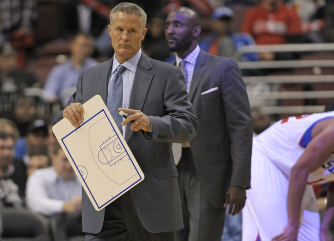 Nov 6, 2013; Philadelphia, PA, USA; Philadelphia 76ers head coach Brett Brown against the Washington Wizards during the second half at Wells Fargo Center. The Wizards defeated the 76ers, 116-102. Mandatory Credit: Eric Hartline-USA TODAY Sports