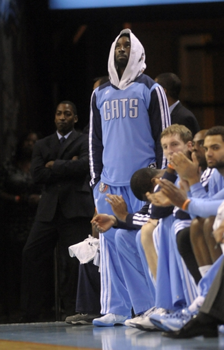 Nov 6, 2013; Charlotte, NC, USA; Charlotte Bobcats guard Ben Gordon (8) on the sidelines during the game against the Toronto Raptors at Time Warner Cable Arena. Bobcats win 92-90. Mandatory Credit: Sam Sharpe-USA TODAY Sports