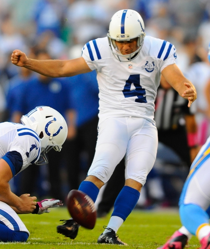 Oct 14, 2013; San Diego, CA, USA; Indianapolis Colts kicker Adam Vinatieri (4) kicks a field goal during the first half against the San Diego Chargers at Qualcomm Stadium. Mandatory Credit: Christopher Hanewinckel-USA TODAY Sports