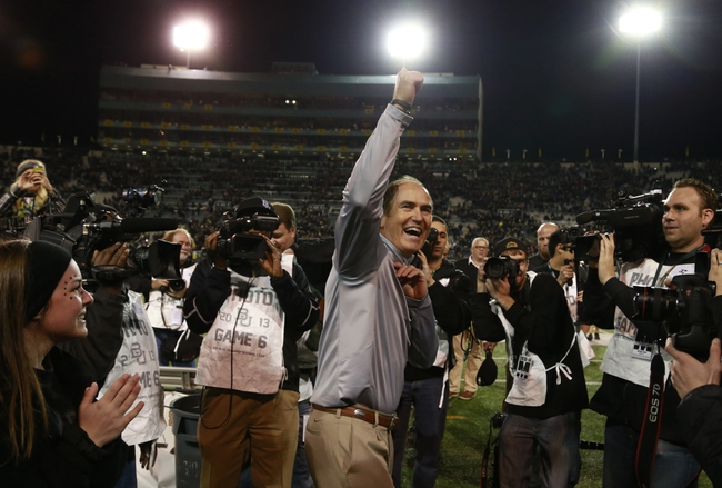 Nov 7, 2013; Waco, TX, USA;  Baylor Bears head coach Art Brile waves to the fans after the game against the Oklahoma Sooners at Floyd Casey Stadium. Baylor beat Oklahoma 41-12.  Mandatory Credit: Tim Heitman-USA TODAY Sports