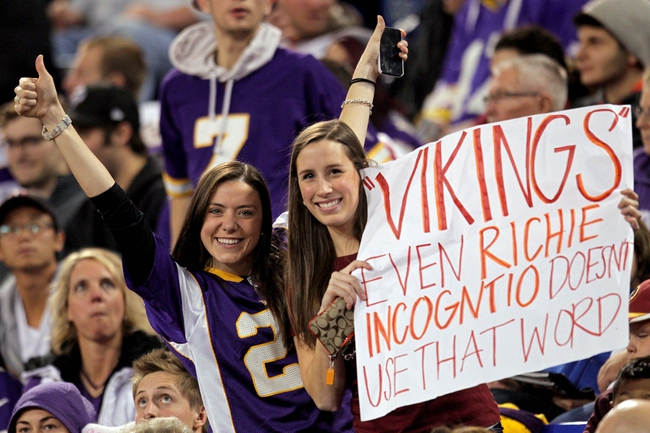 Nov 7, 2013; Minneapolis, MN, USA; Fans Laura Miller (left) and Maura Sullivan (right) hold up a sign relating to Miami Dolphins offensive lineman Richie Incognito (not pictured) during the third quarter between the Minnesota Vikings and Washington Redskins at Mall of America Field at H.H.H. Metrodome. The Vikings defeated the Redskins 34-27. Mandatory Credit: Brace Hemmelgarn-USA TODAY Sports