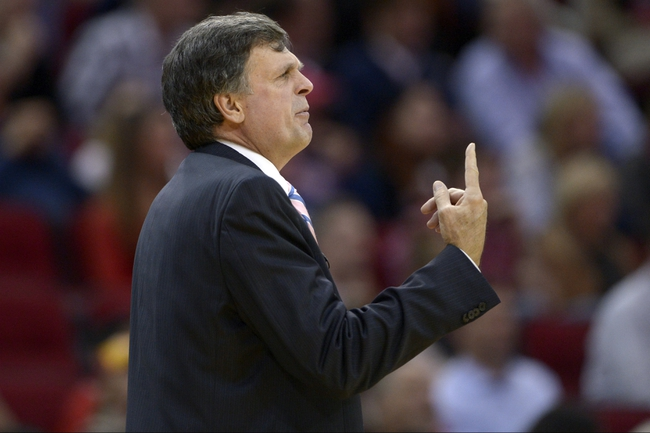 Nov 7, 2013; Houston, TX, USA; Houston Rockets head coach Kevin McHale coaches against the Los Angeles Lakers during the second half at Toyota Center. The Lakers won 99-98. Mandatory Credit: Thomas Campbell-USA TODAY Sports