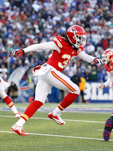 Nov 3, 2013; Orchard Park, NY, USA; Kansas City Chiefs defensive back Ron Parker (38) during the game against the Buffalo Bills at Ralph Wilson Stadium. Mandatory Credit: Kevin Hoffman-USA TODAY Sports